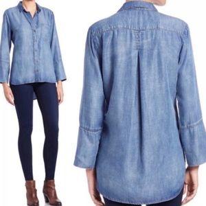 Cloth & Stone Blue Chambray Hi-Lo Button Shirt XS
